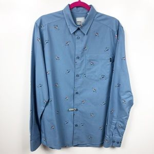 WESC Button Up Blue Bird Shirt M